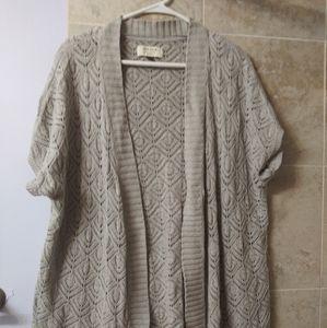 Sonoma crochet cardigan gray 1x plus short sleeve